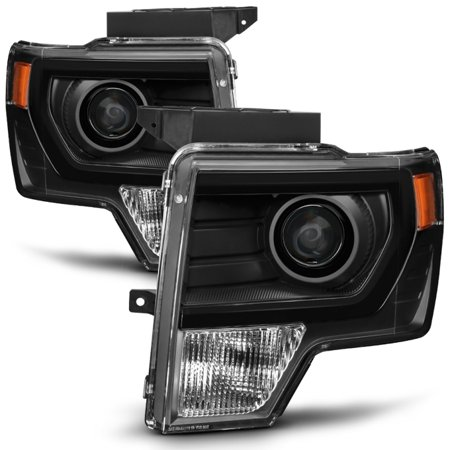 2014 F150 Headlights >> Fit Halogen 2009 2014 Ford F150 F 150 Pickup Black Projector Headlights