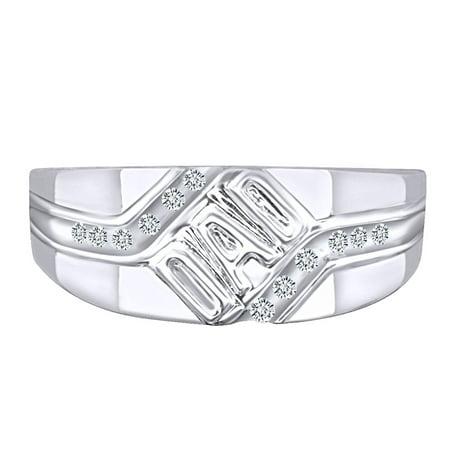 0.12 Carat (Ctw) Round Shape White Natural Diamond Men's DAD Ring 10k Solid White Gold Ring Size-9