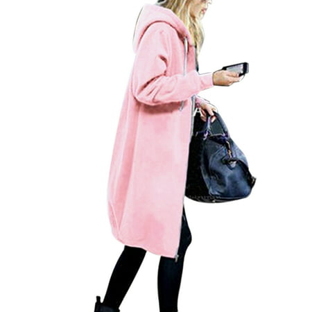 Women Winter Long Sleeve Zip Up Hooded Hoodie Jacket Jumper Ladies Loose Baggy Solid Color Cardigan Coat Overcoat Plus Size S-5XL Sleeve Zip Cardigan
