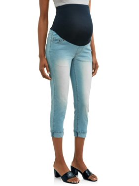 Oh! Mamma Maternity Over Belly Denim Capris with Rolled Cuff - Available in Plus Sizes