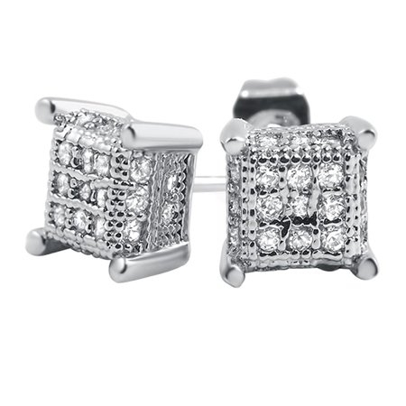Pave Cube (Small 3D Cube Micro Pave CZ Earrings )