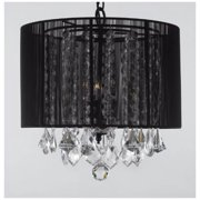 Crystal Chandelier w Large Black Shade