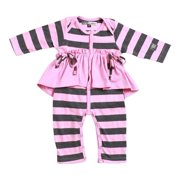 KidCuteTure Baby Girls Rose Pink Ruffle Abby Long Sleeve Funky Fall Romper 3-24M