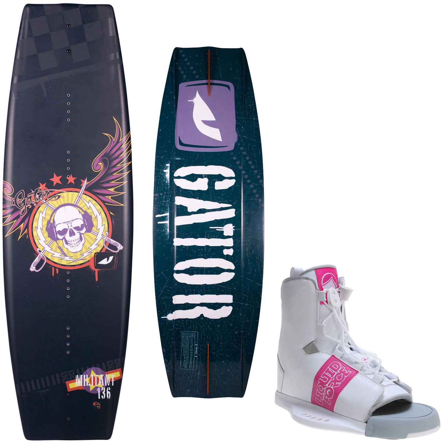 Gator Boards Militant Wakeboard 136cm + Liquid Force Bindings Mens Sz 8-12 by Gator Boards