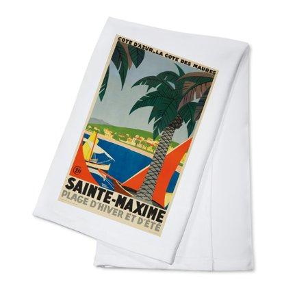 Sainte - Maxime Vintage Poster (artist: Broders, Roger) France c. 1928 (100% Cotton Kitchen Towel)