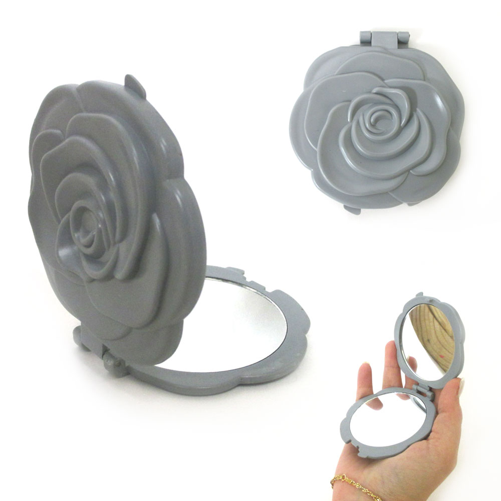 Rose Compact Double Sided Folding Silver Mirror Magnifying