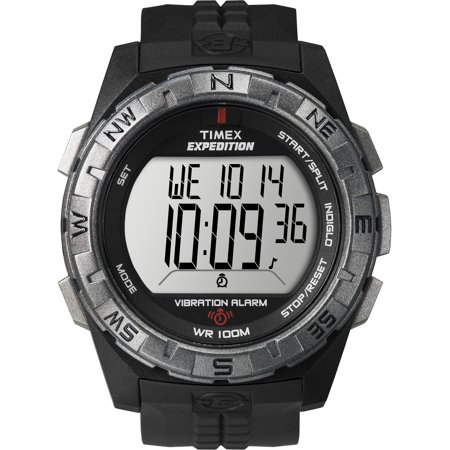 Timex Mens Expedition Vibration Alarm Watch  Black Resin Strap