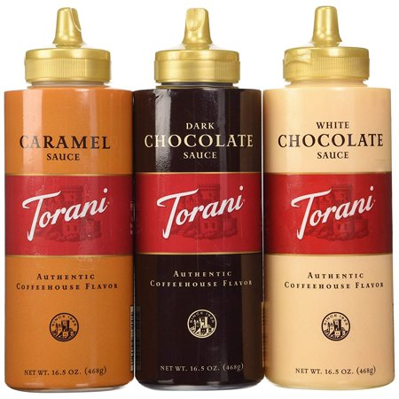 Sauce 3 Pack Chocolate, Caramel, White Chocolate 16.5 Oz with NEW Packaging Torani - Caramel Sauce For Cheesecake