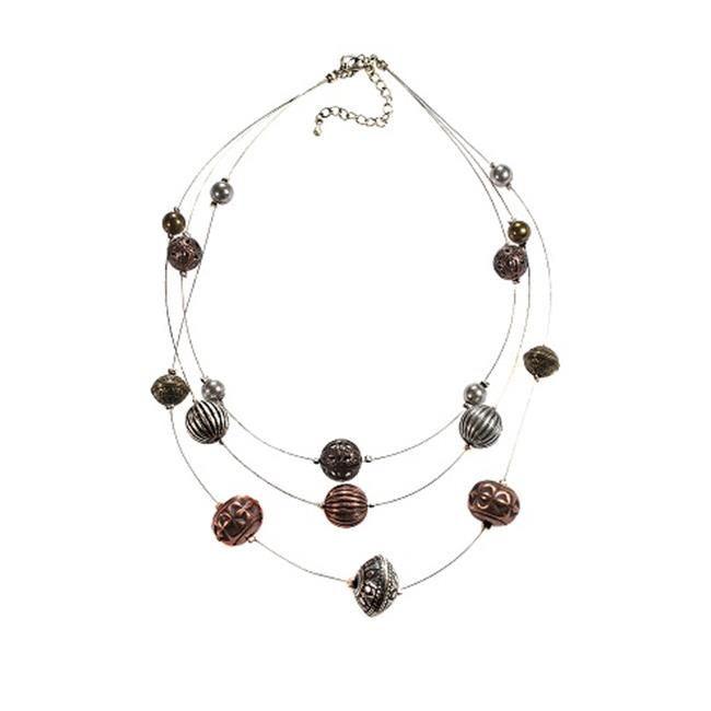 Alexa Starr Three Row Silver Wire Illusion Necklace With Burnished Tri-tone Textured Beads