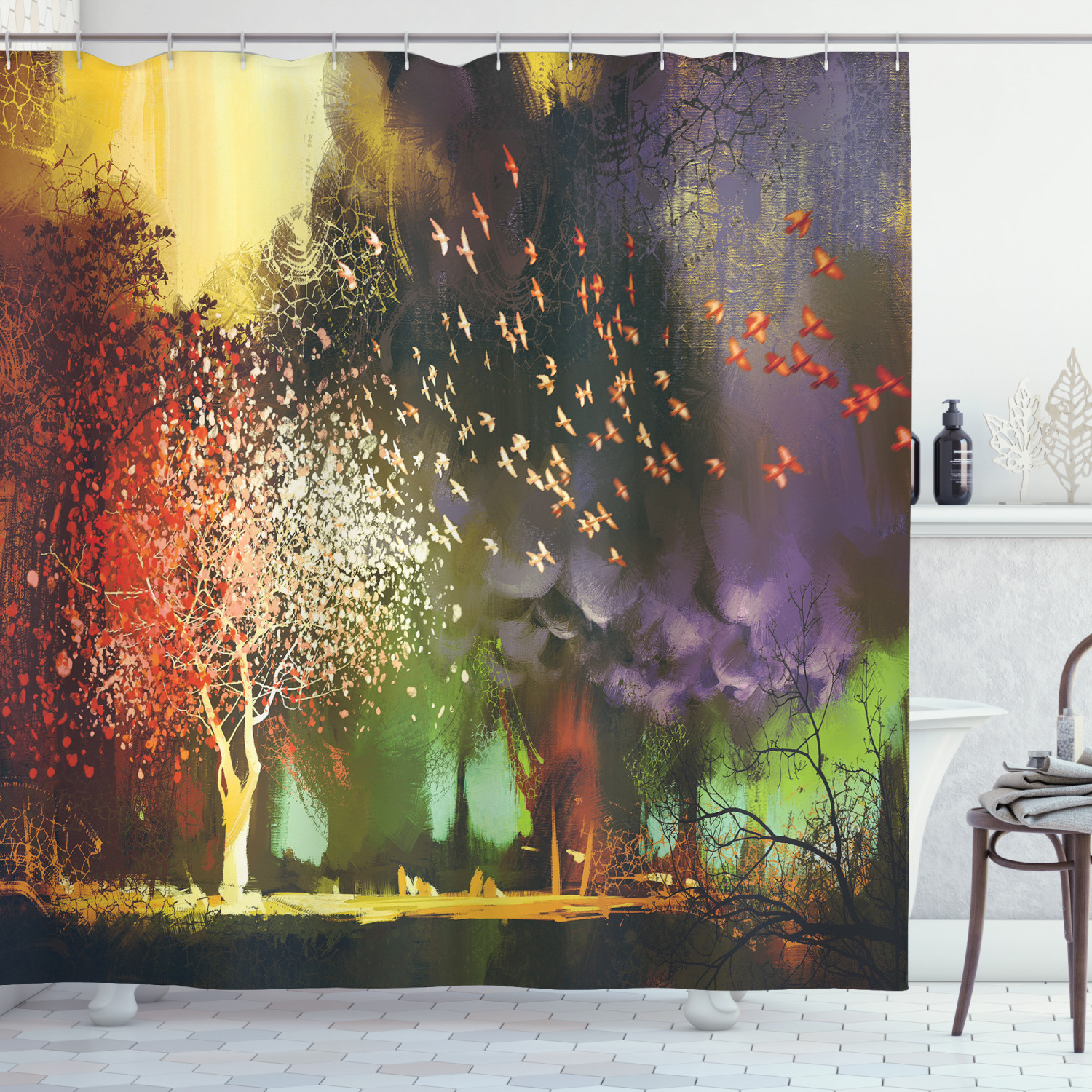 fantasy house decor shower curtain set fairy forest with mysterious trees and birds supernatural vivid wonder world bathroom accessories 69w x 70l