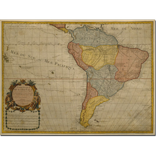 Trademark Art 'Map of South America, 1700' Canvas Art by Guillaume Delisle