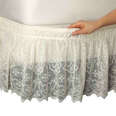 - Lace Trimmed Elastic Bed Wrap, Easy Fit Dust Ruffle Bedskirt, Queen/King, Ivory