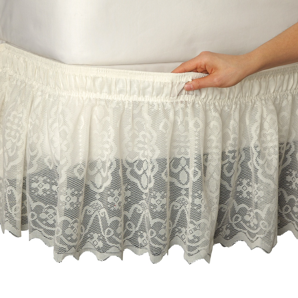 Lace Trimmed Elastic Bed Wrap, Easy Fit, Dust Ruffle Bedskirt, Queen/King, Ivory