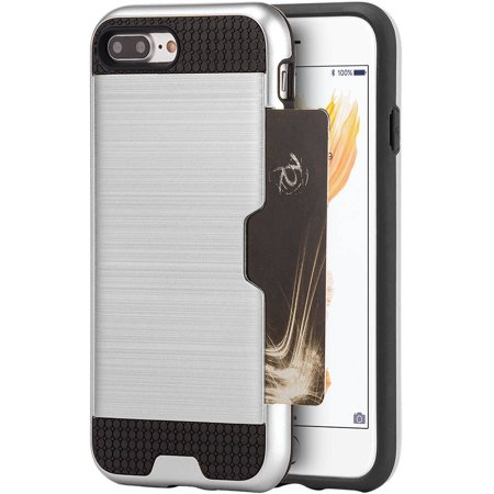 Silver Plated Card Case (Apple iPhone 7 Plus Hybrid Card to Go Case Silk Back Plate, Silver )