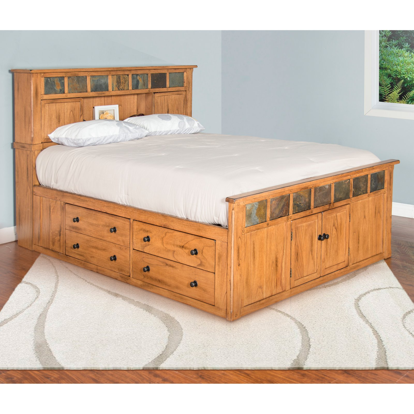 Sunny Designs Sedona Panel Storage Bed With Bookcase