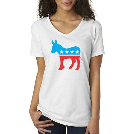 Allwitty 1011 - Women's V-Neck T-Shirt Democrat Donkey Mascot Liberal - Democrat Donkey