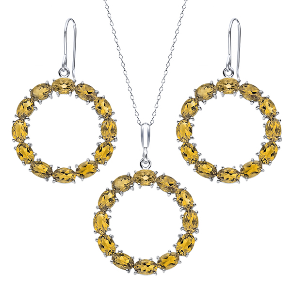 15 Ctw Oval Citrine Sterling Silver Circle Pendant Earrings Set by
