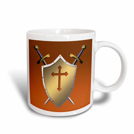 3dRose Golden Shield with crossed swords and the Christian Cross and background in Cognac, Ceramic Mug, (Best Cognac For Cooking)