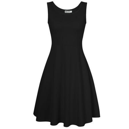 Women Summer Beach Casual Sleeveless Flared Tank Dress
