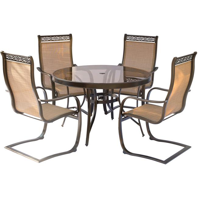 Monaco Dining Set with Spring Sling Chairs & Glass Table - 5 Piece