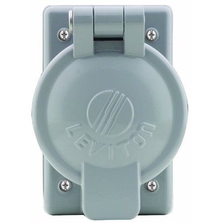 "Leviton 7770 Single Gang Cover Plate For 50A Single Receptacles, Cast Aluminum with Lift Cover For Wet Location with Cover ""Closed"""