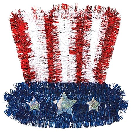 Old Glory Fourth of July Party Uncle Sam Tinsel Hat Decoration, Foil, 10