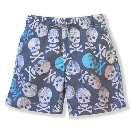 Azul Boys Gray Blue Skull Print Hamlet Drawstring Swimwear Shorts