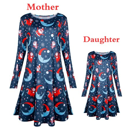 3999acbfdf158 Mosunx - Toddler Kid Baby Girl Christmas Printed Clothes Long Sleeve Party  Princess Dress - Walmart.com
