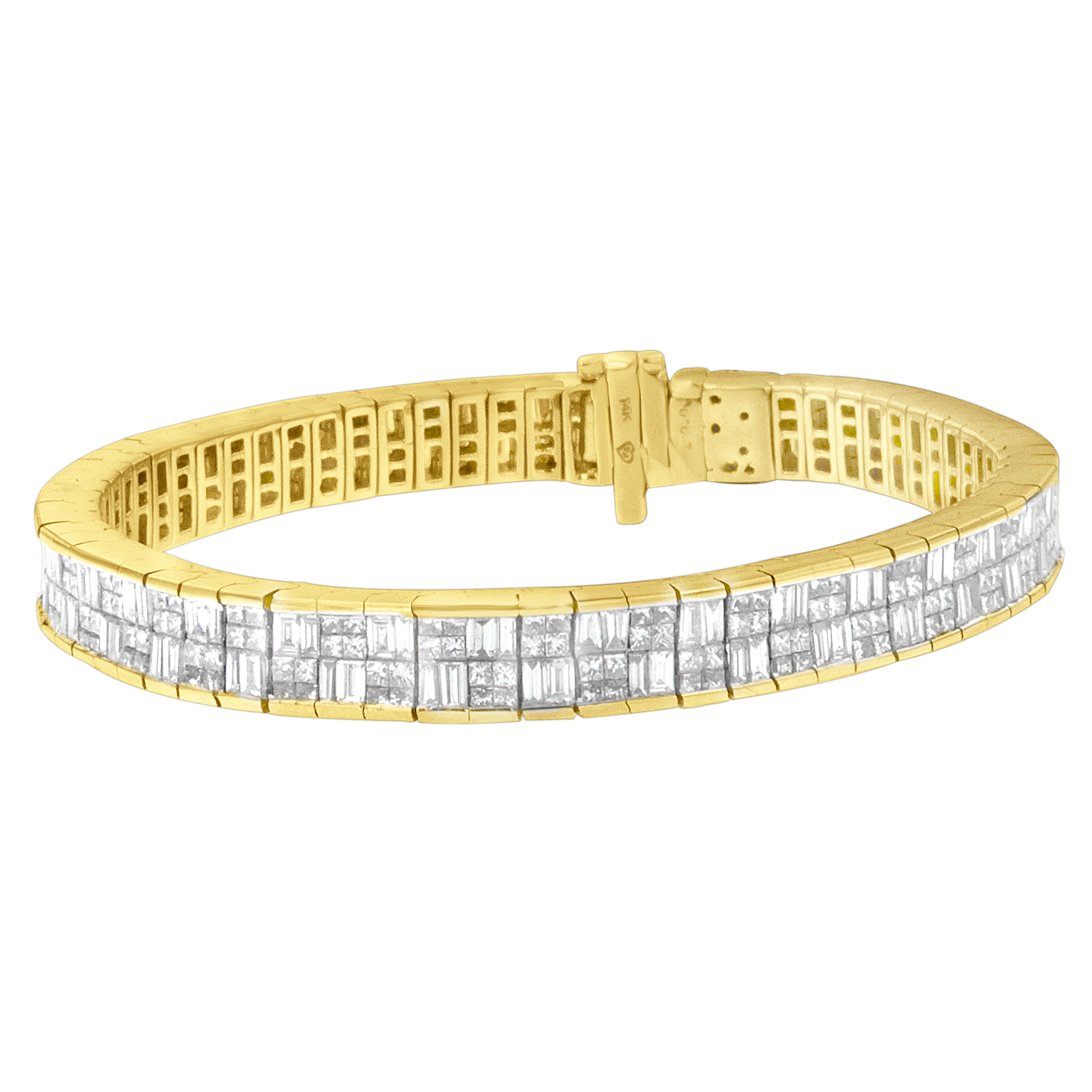 Classic 14KT Yellow Gold 8 5 8ct.TDW Baguette and Princess Cut Diamond Eternity Bracelet (G-H,VS2-SI1) by VJG