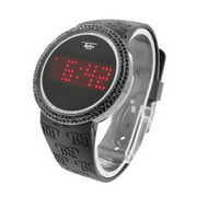 Black Lab Created Cubic Zirconias Watch Touch Screen Techno Pave Black Silicone Band Waterproof