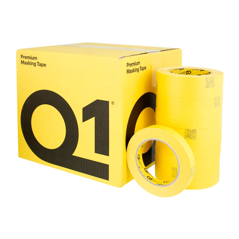 Q1 3/4 inch (18mm X 55m) Premium High Performance Yellow Masking Tape - High Temperature - Case of 48 Rolls