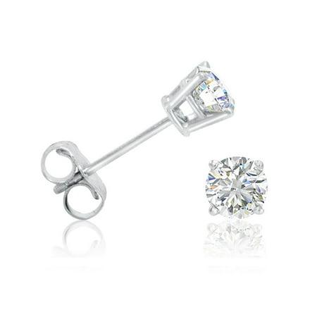 Diamond Rose Gold Stud (Amanda Rose 1/2ct tw. Round Diamond Solitaire Stud Earrings in 14K White Gold)