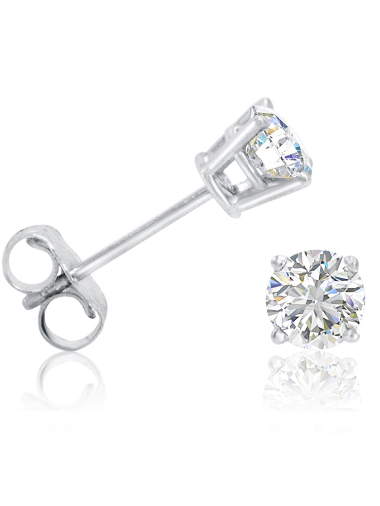 Amanda Rose 1/2ct tw. Round Diamond Solitaire Stud Earrings in 14K White Gold
