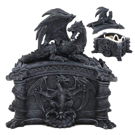 "Ebros Gift Celtic Knotwork Grave Tomb Mythical Roaring Fire Dragon Decorative Trinket Jewelry Box Figurine 6.25"" Long Medieval Renaissance Winged Alchemy Dungeons Dragons Decorative Statue"