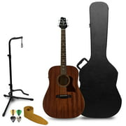 Sawtooth Solid Top Mahogany Dreadnought Acoustic-Electric Guitar with Free Hard Case, Guitar Stand, Guitar Strap, & Guitar Picks