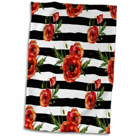 3dRose Pretty Watercolor Red Poppy Flowers On Black and White Stripes - Towel, 15 by 22-inch Red Stripe Beach Towel