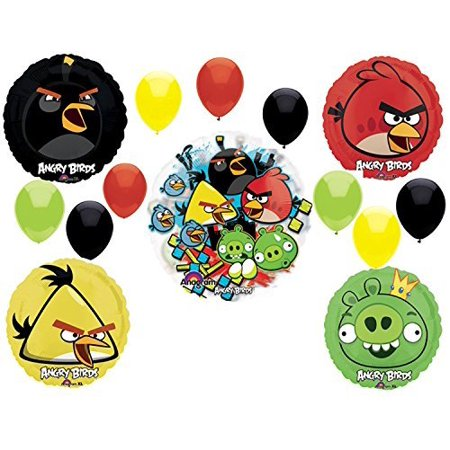Angry Birds Birthday Party Supplies and Group See-Thru Balloon Decorations
