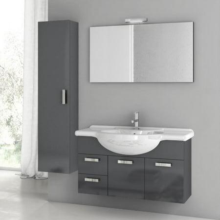 ACF by Nameeks ACF PH06-GA Phinex 39-in. Single Bathroom Vanity Set - Glossy Anthracite