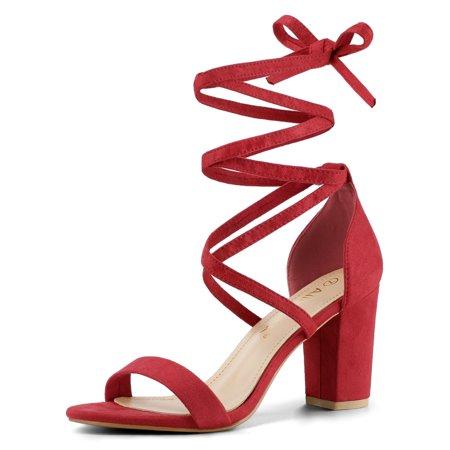 f206be47d581f Allegra K - Women's One Strap Block Heel Lace Up Sandals Red (Size 6.5) -  Walmart.com