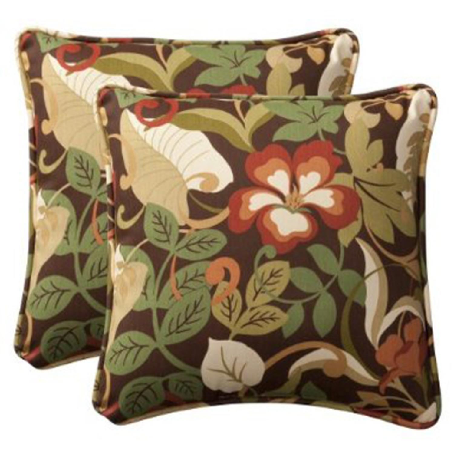 "Pack of 2 Outdoor Patio Furniture Square Throw Pillows 18.5"" - Floral Cafe"