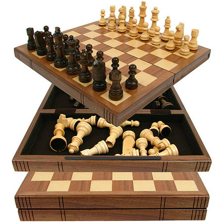 Chess Board Walnut Book Style with Staunton (Pewter Staunton Chess)