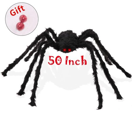SUNBA YOUTH Spider-1Pieces 50 Inch Black Huge Spider Used for Halloweens or Parties Decor (1 Giant