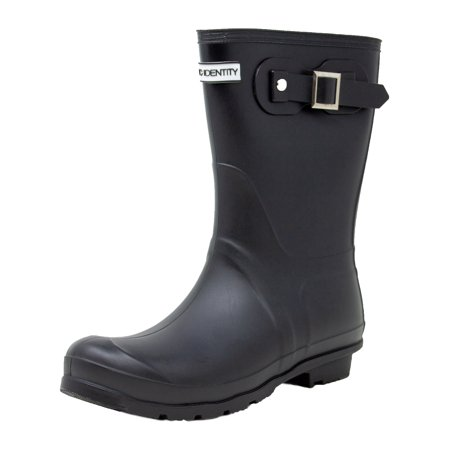 - Exotic Identity Short Rain Boots Non-Slip 100% Waterproof for Women - 7M - Matte Black