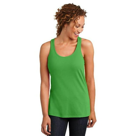 District Made® Ladies Solid Gathered Racerback Tank. Dm420 Apple Green S - image 1 of 1