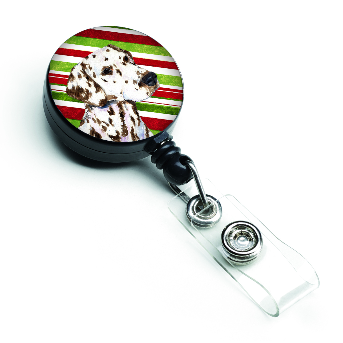 Dalmatian Candy Cane Holiday Christmas Retractable Badge Reel SS4538BR