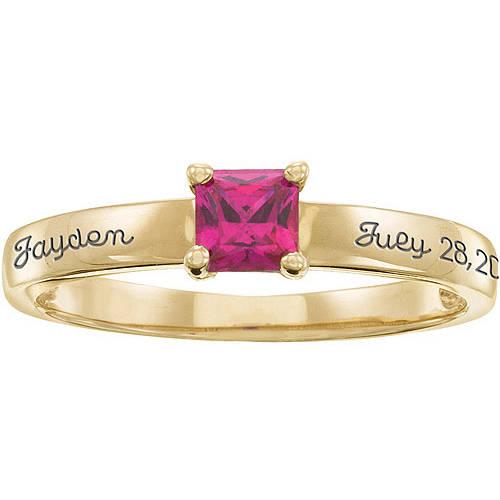 Personalized Keepsake Mother's Stacking Princess Birthstone Ring