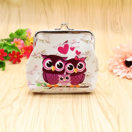 Women Lady Retro Vintage Owl Leather Small Wallet Hasp Purse Clutch