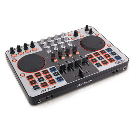 Dj Tech 4MIX Usb Midi Dj Controller W/ Integrated Soundcard, Direct 4 Deck Control, & Virtual Dj Le