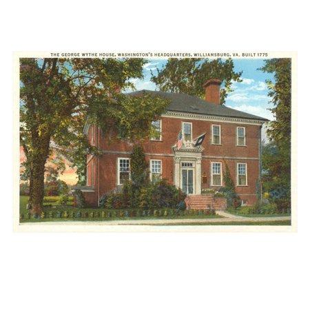George Wythe House, Williamsburg, Virginia Laminated Print Wall Art (Wythe House)