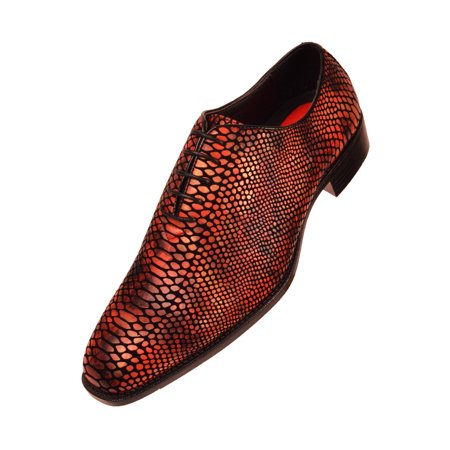 Bolano Mens Exotic Faux Snake Skin Print Oxford Dress Shoe: Style Seabrook Available in Red, Grey, Gold, Brown and Royal